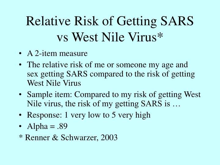 Relative Risk of Getting SARS vs West Nile Virus*
