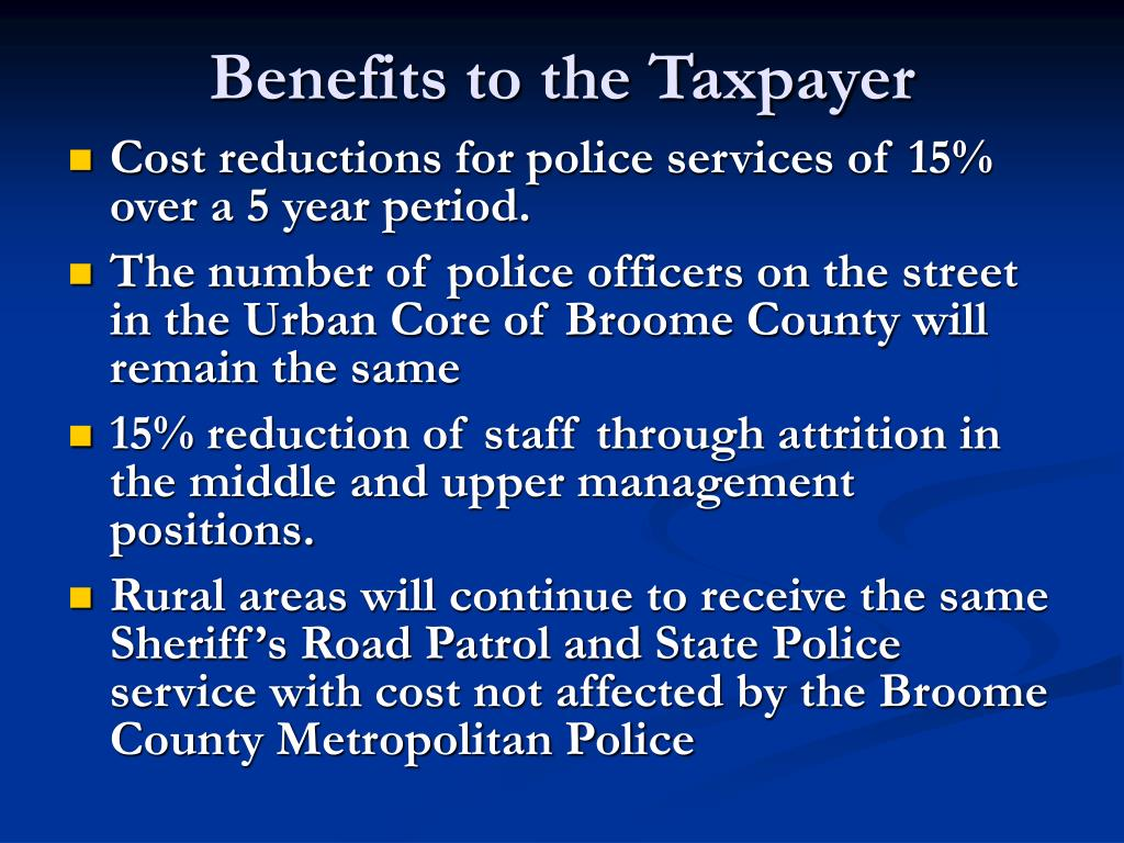Benefits to the Taxpayer