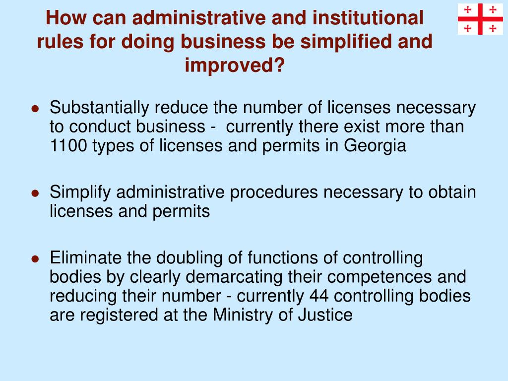 How can administrative and institutional rules for doing business be simplified and improved?