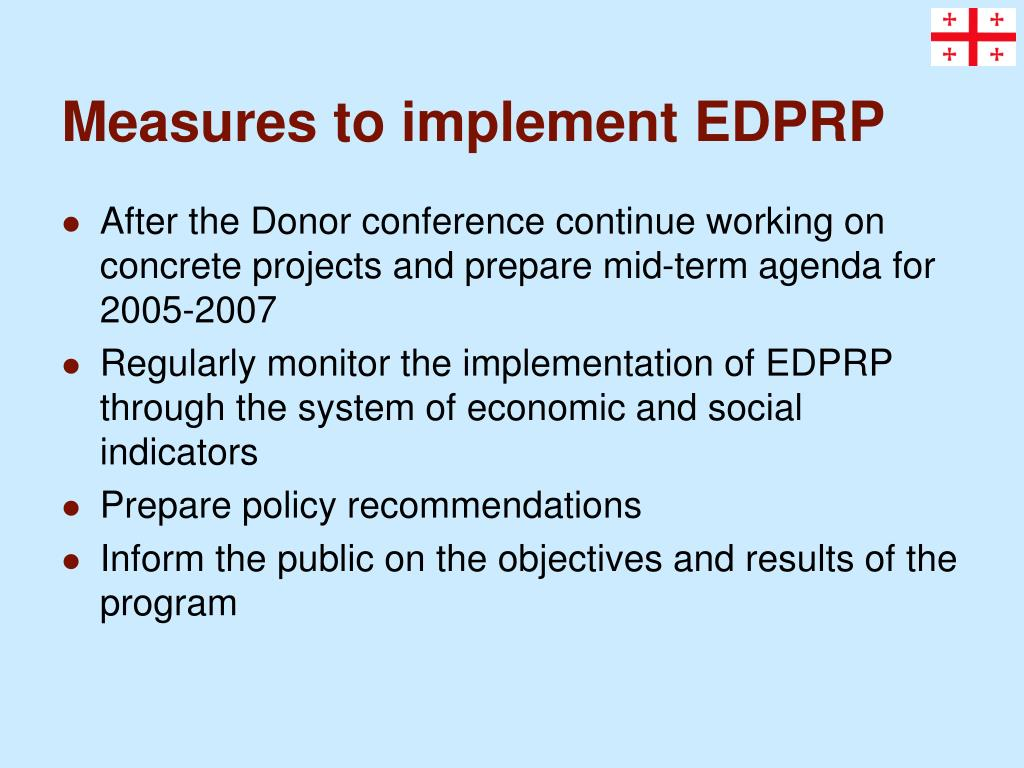 Measures to implement EDPRP