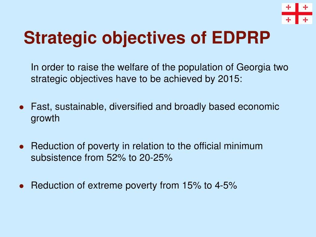 Strategic objectives of EDPRP