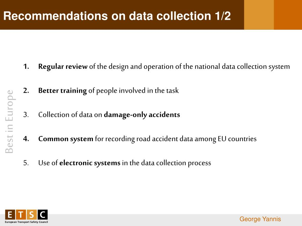Recommendations on data collection 1/2