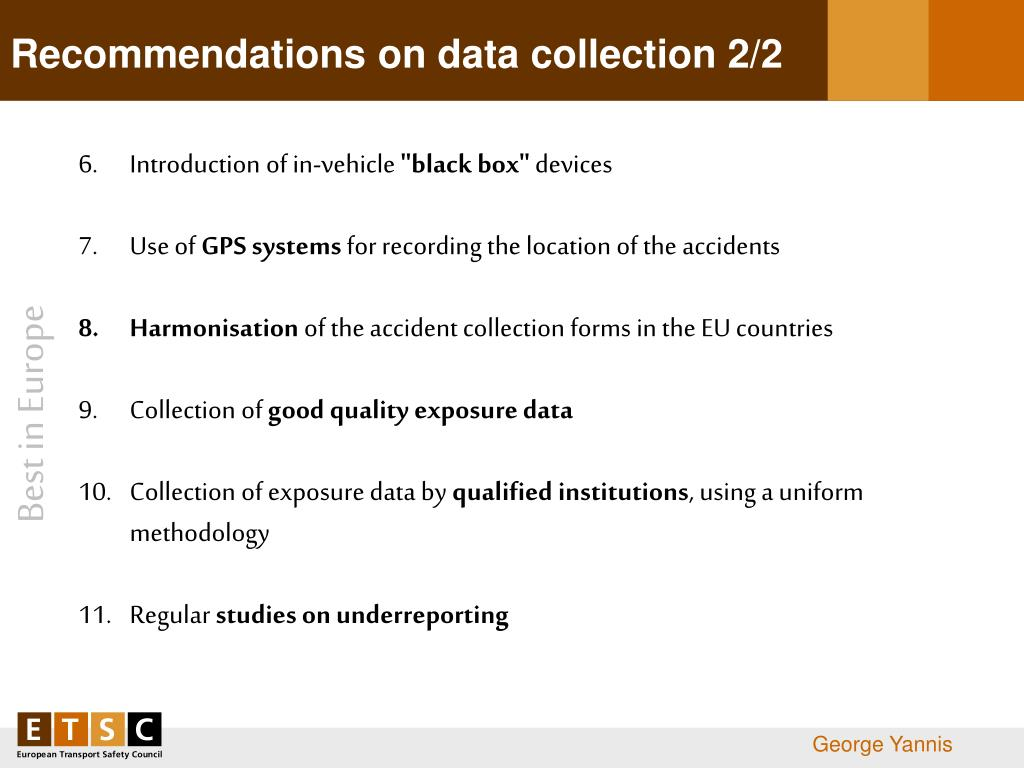 Recommendations on data collection 2/2