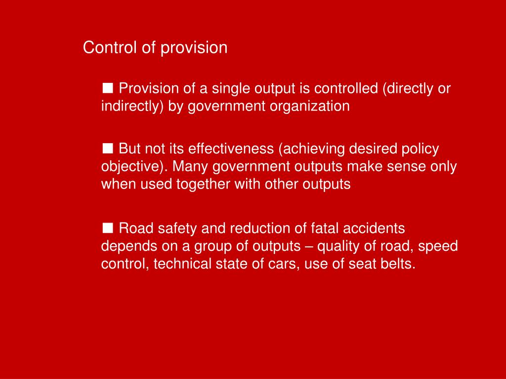 Control of provision