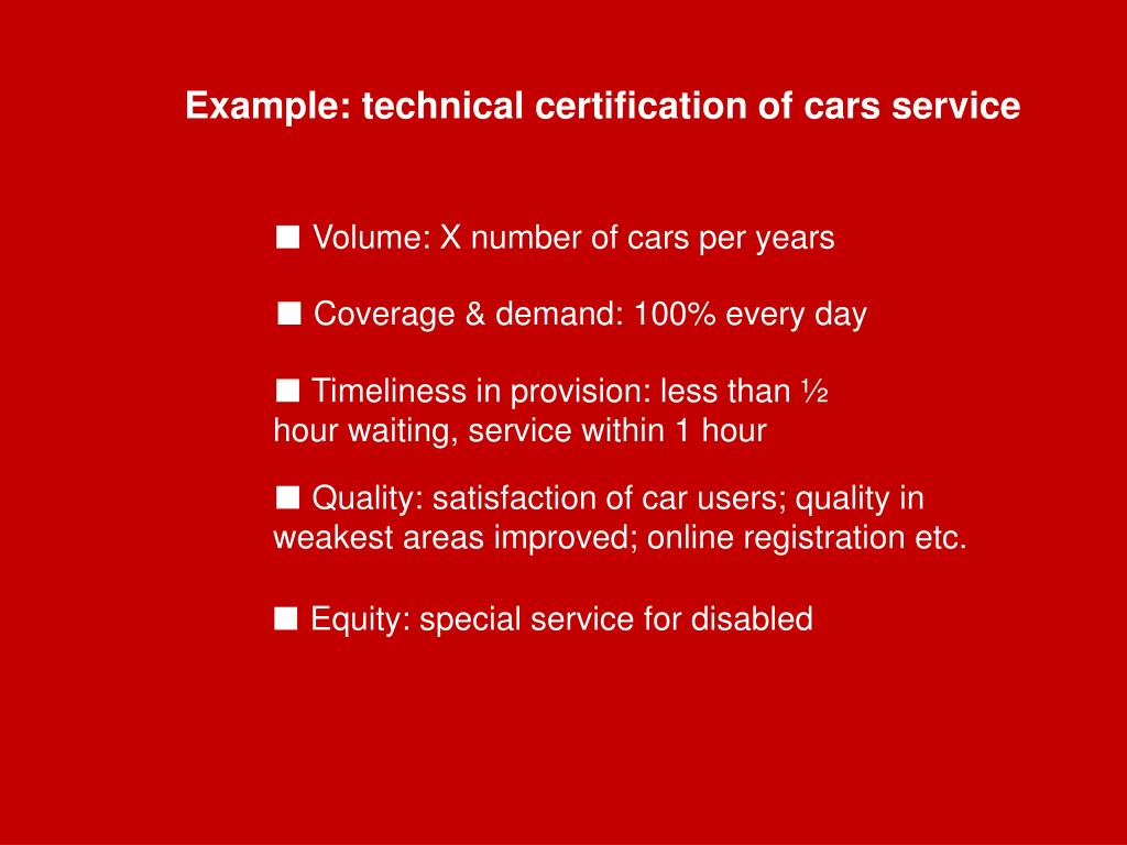 Example: technical certification of cars service
