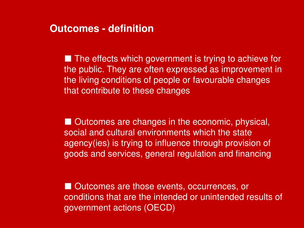 Outcomes - definition