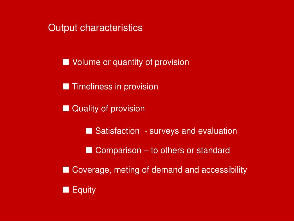 Output characteristics