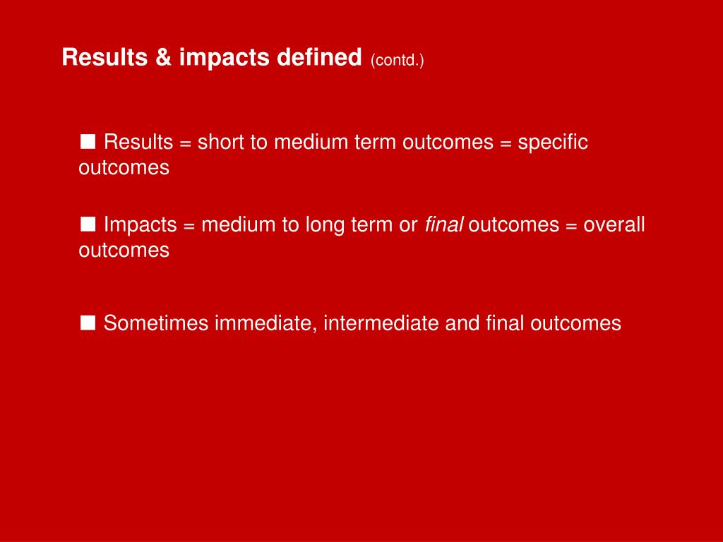 Results & impacts defined