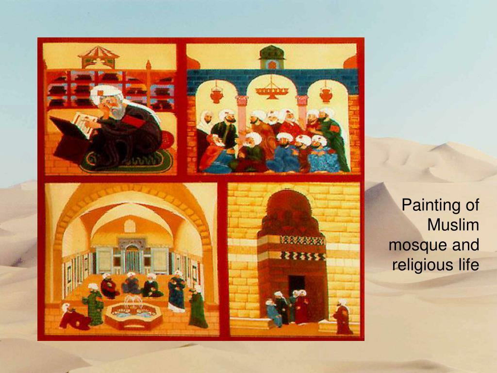 Painting of Muslim mosque and religious life