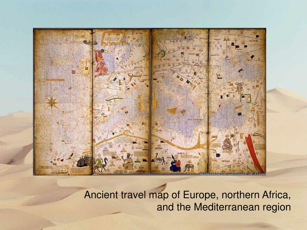 Ancient travel map of Europe, northern Africa,