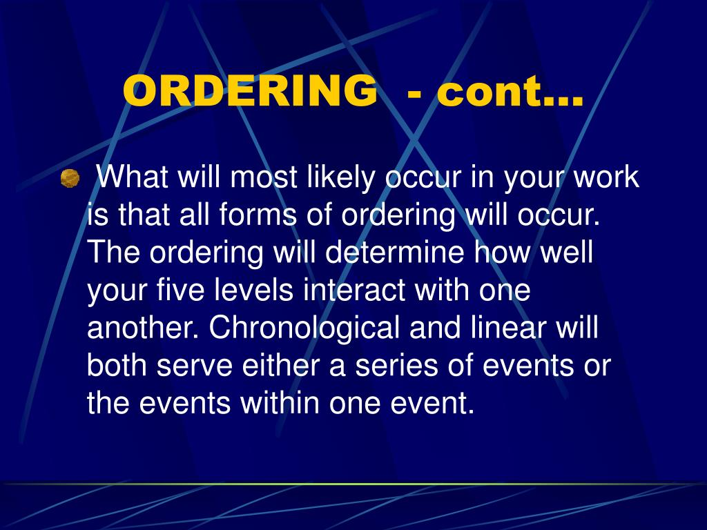 ORDERING  - cont…