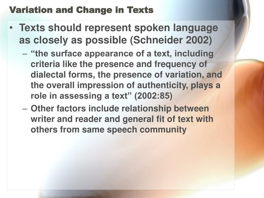 Variation and Change in Texts