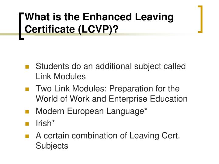 What is the enhanced leaving certificate lcvp