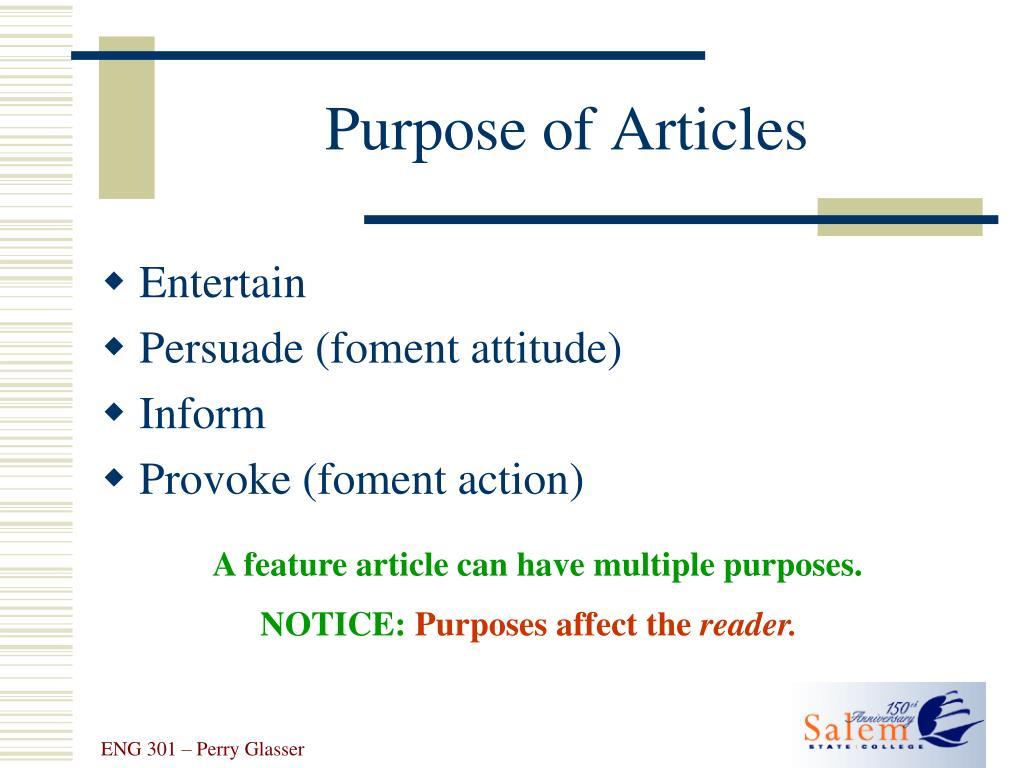 Purpose of Articles