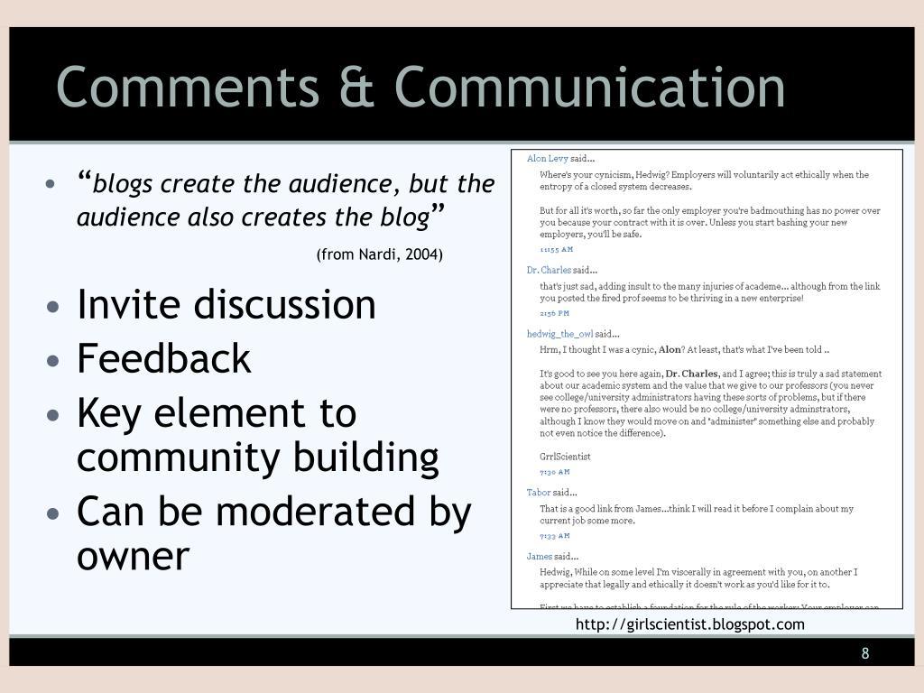 Comments & Communication