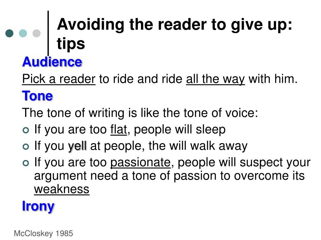 Avoiding the reader to give up: tips
