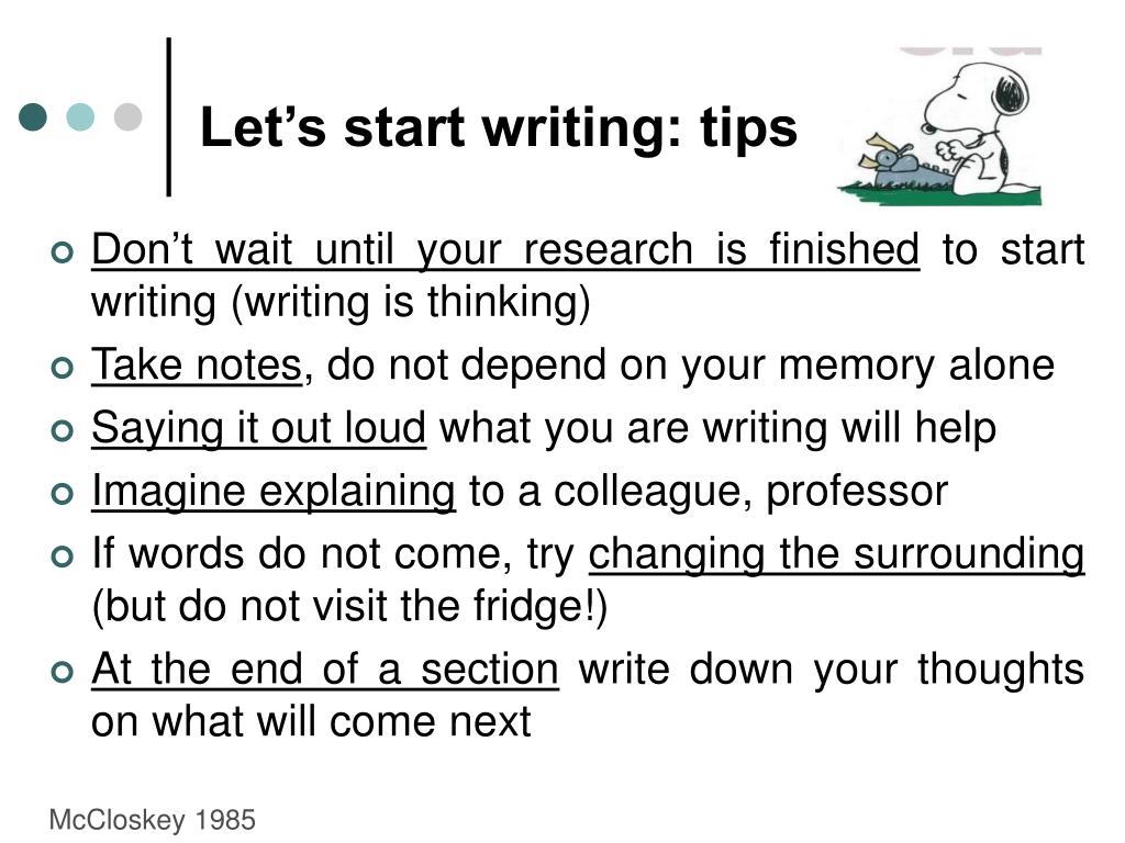 Let's start writing: tips
