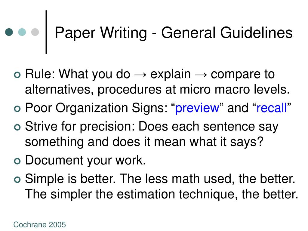 Paper Writing - General Guidelines