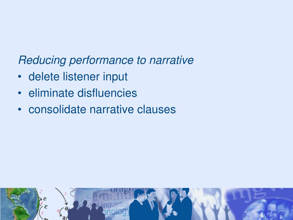 Reducing performance to narrative