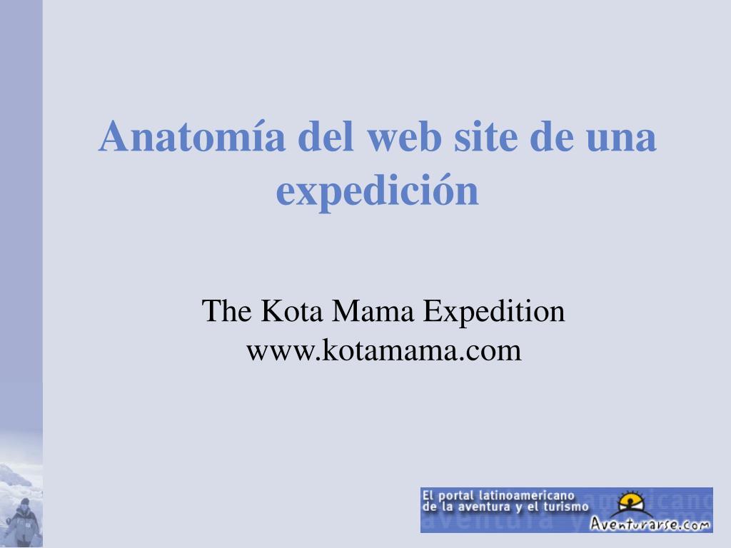 Anatomía del web site de una expedición