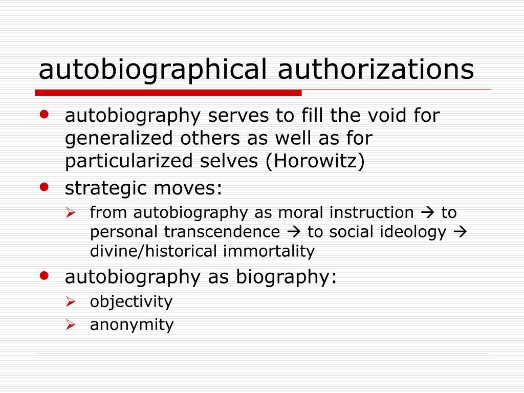 autobiographical authorizations