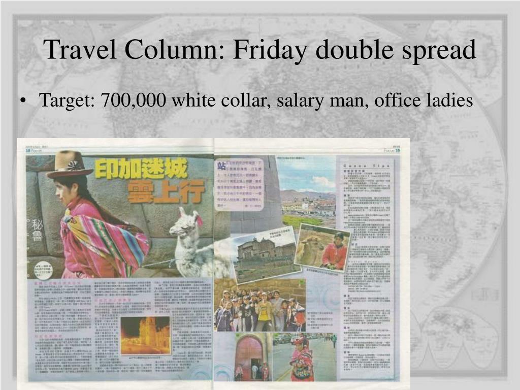 Travel Column: Friday double spread