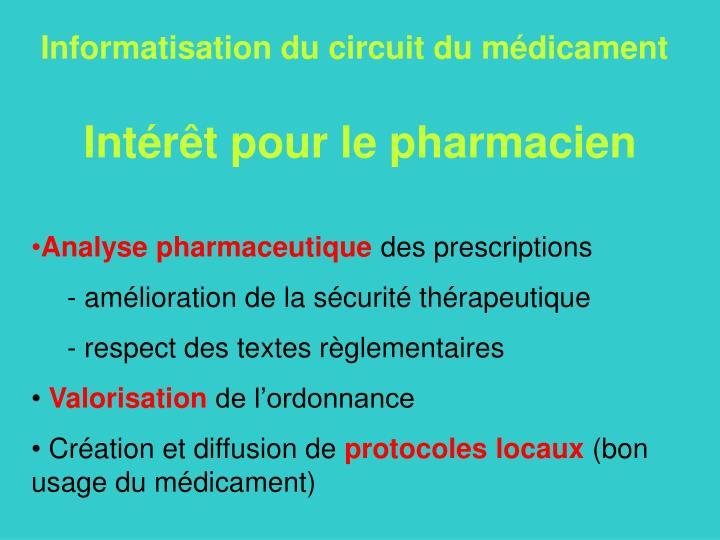 Informatisation du circuit du médicament