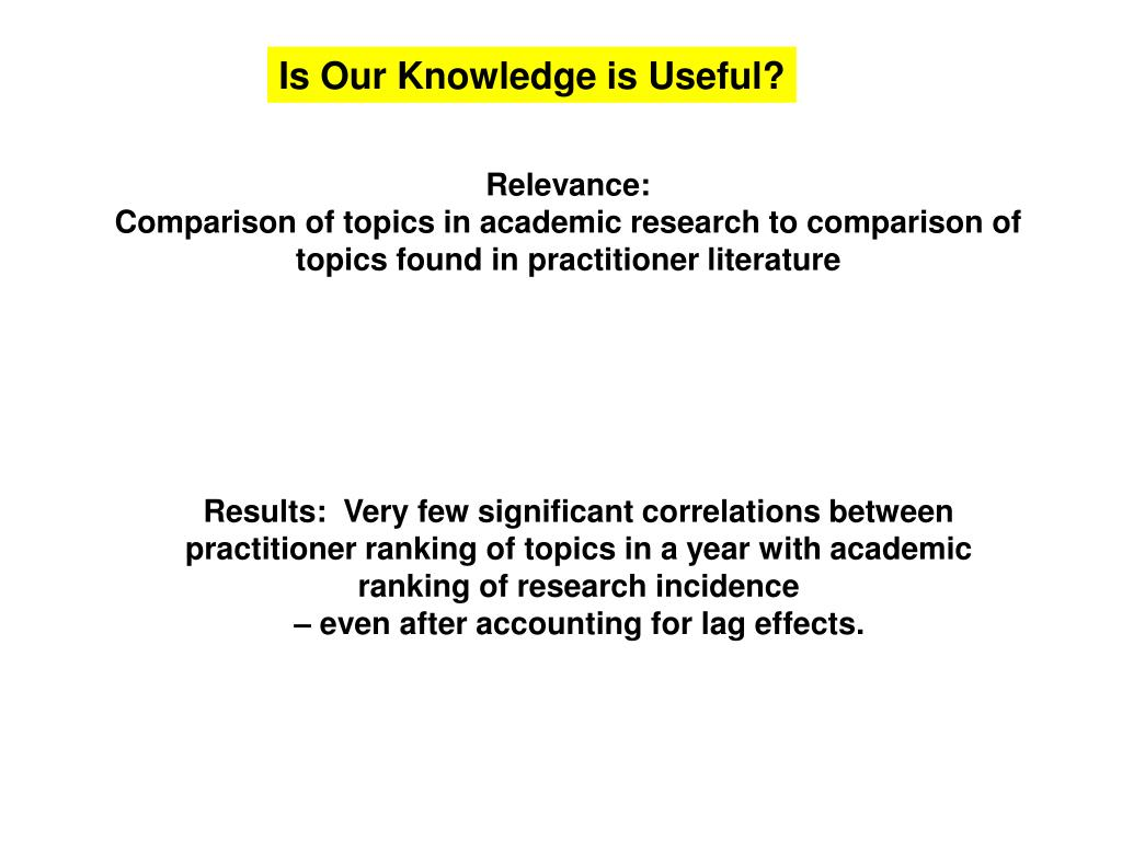 Is Our Knowledge is Useful?