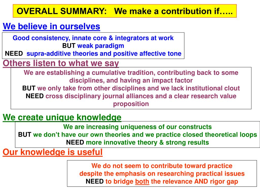 OVERALL SUMMARY:   We make a contribution if…..