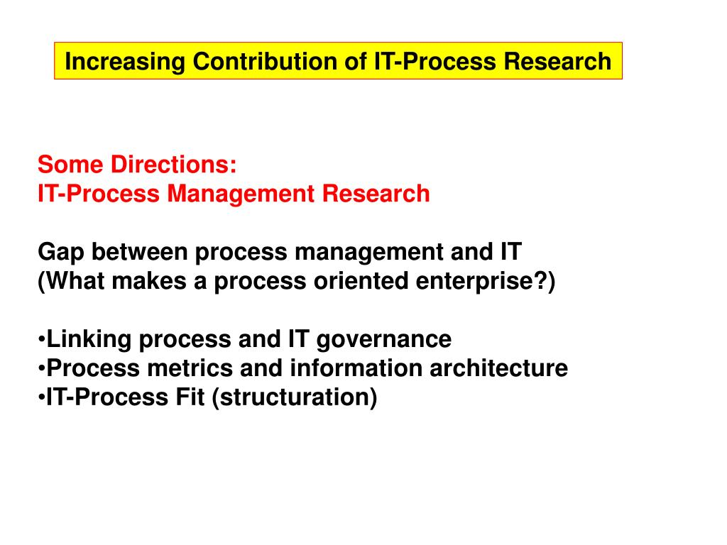 Increasing Contribution of IT-Process Research