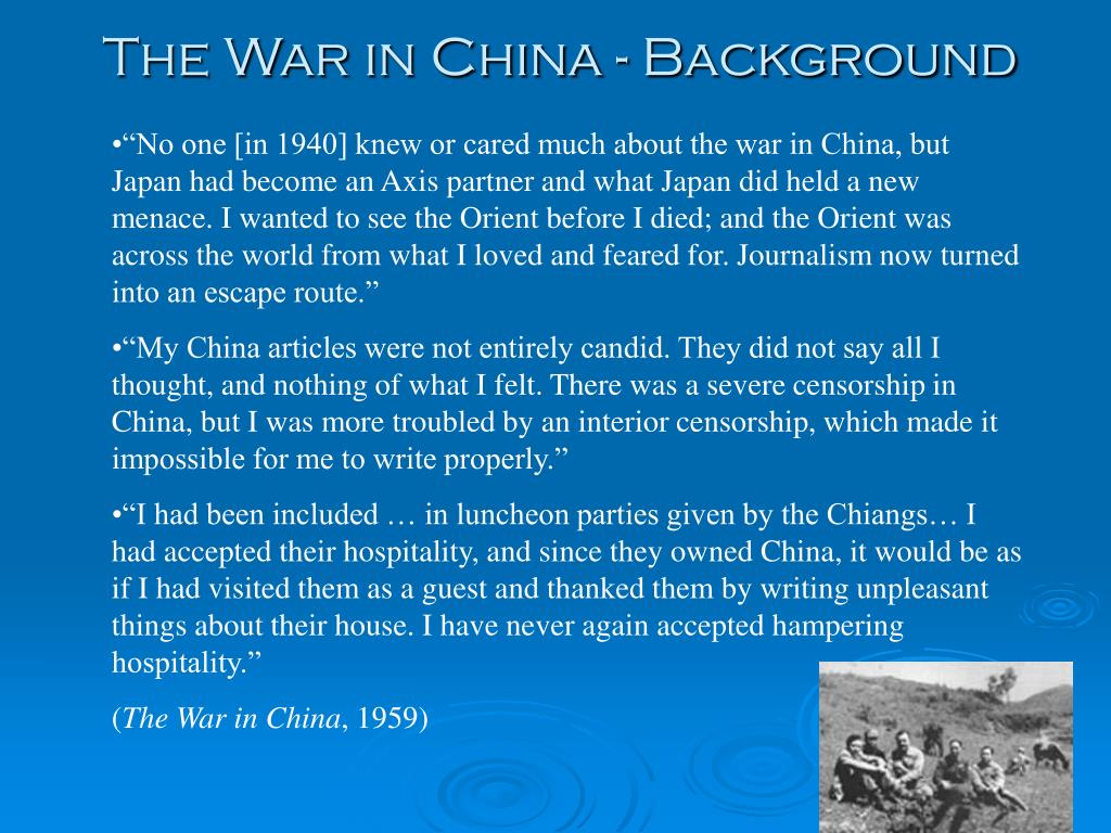 The War in China - Background