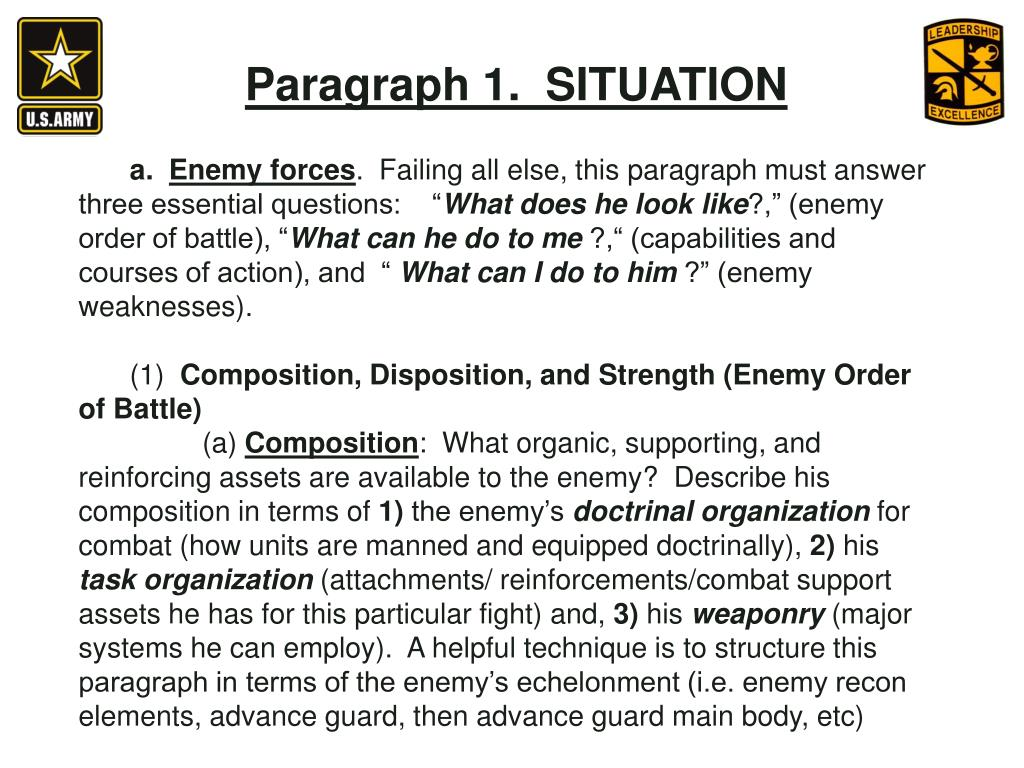 Paragraph 1.  SITUATION