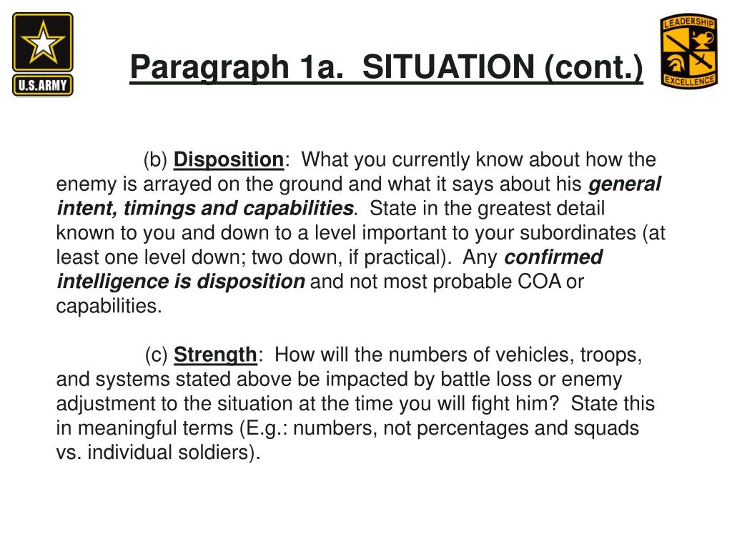 Paragraph 1a.  SITUATION