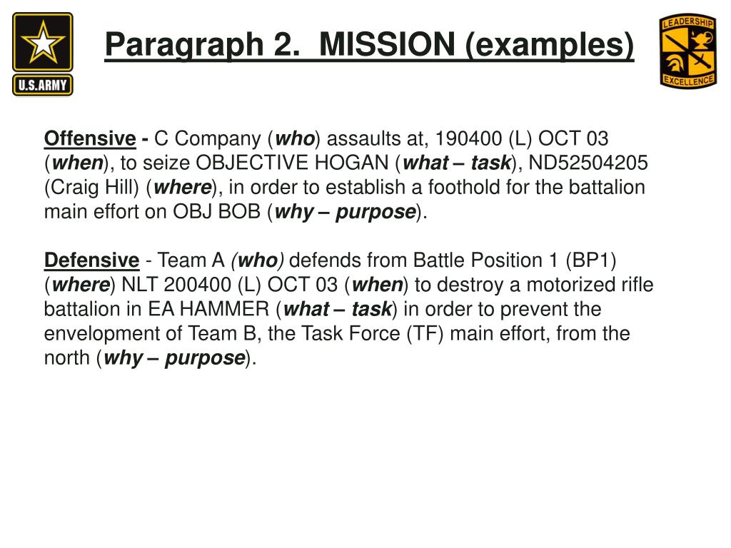Paragraph 2.  MISSION (examples)