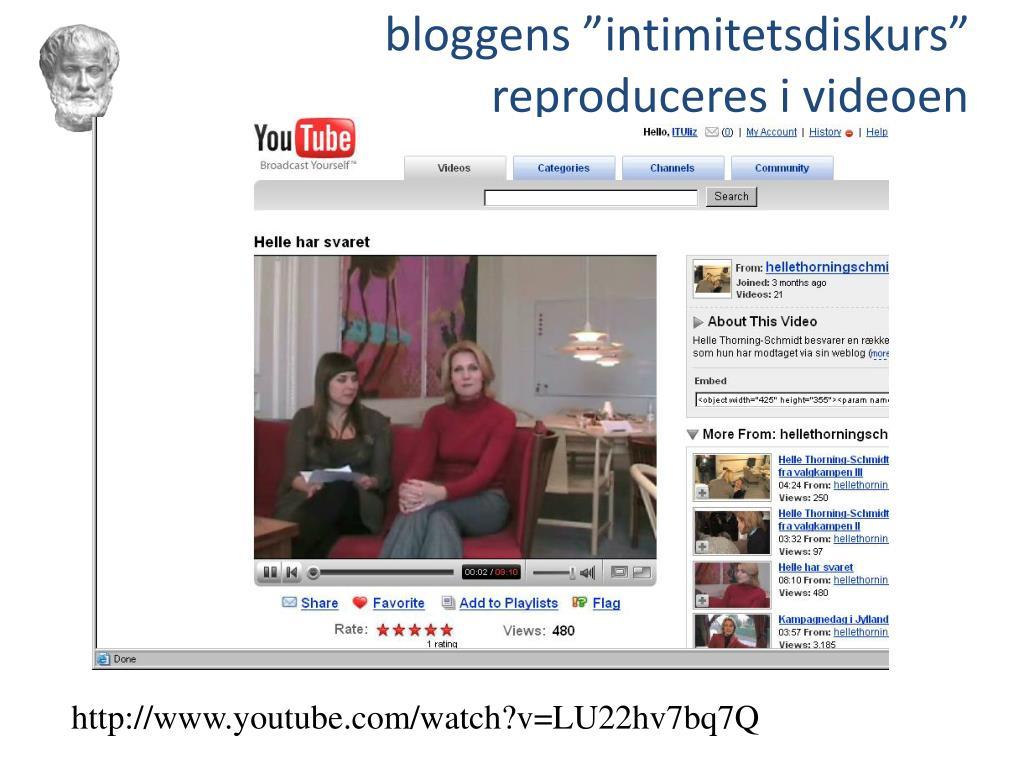"""bloggens """"intimitetsdiskurs"""" reproduceres i videoen"""