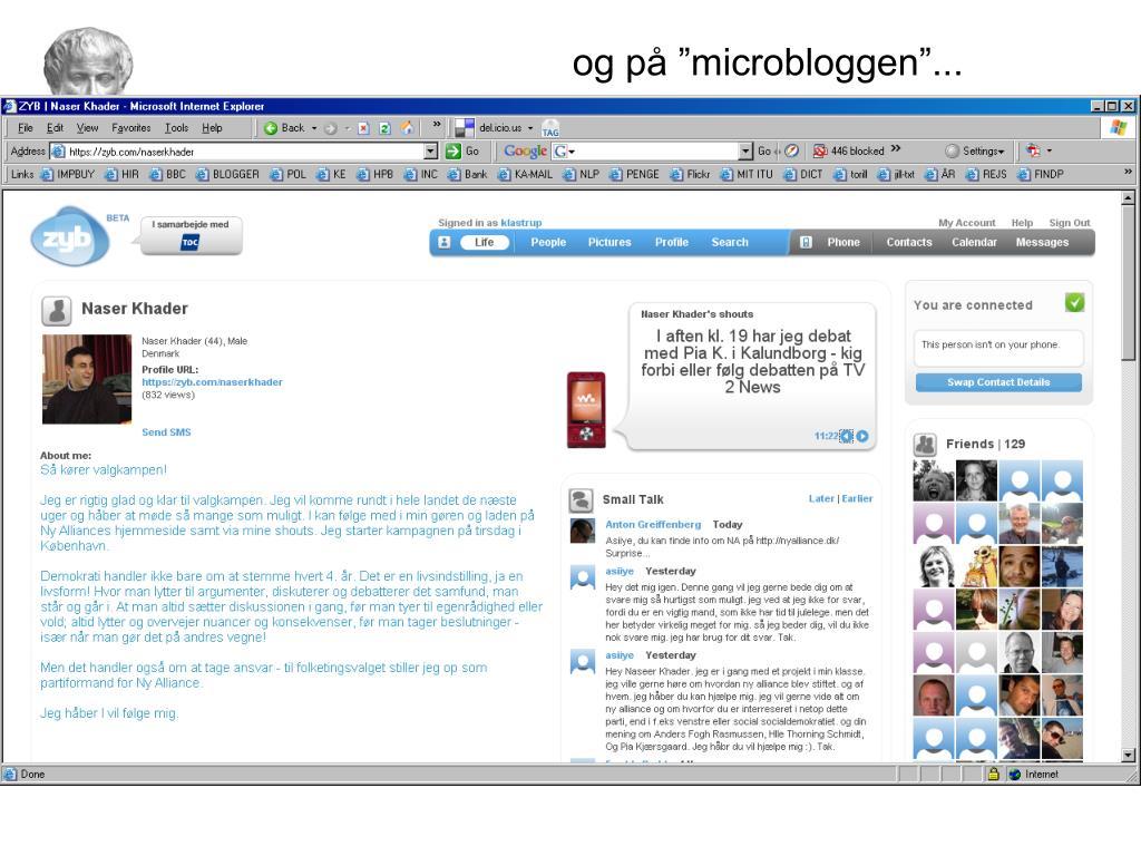 "og på ""microbloggen""..."