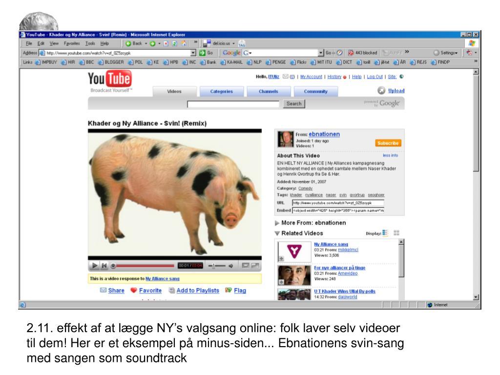2.11. effekt af at lægge NY's valgsang online: folk laver selv videoer til dem! Her er et eksempel på minus-siden... Ebnationens svin-sang med sangen som soundtrack