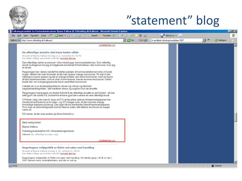 """""""statement"""" blog"""
