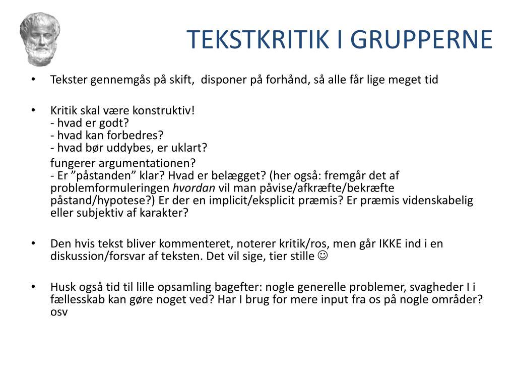 TEKSTKRITIK I GRUPPERNE
