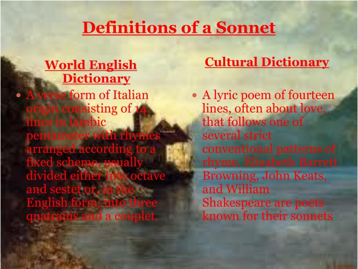 Definitions of a sonnet