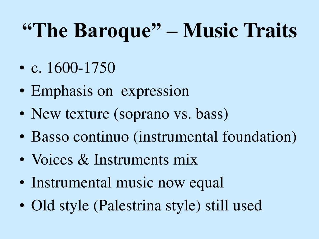 """The Baroque"" – Music Traits"