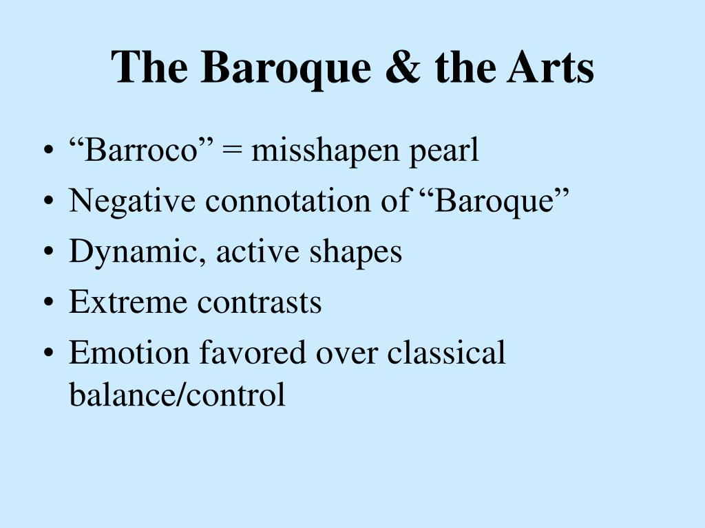 The Baroque & the Arts