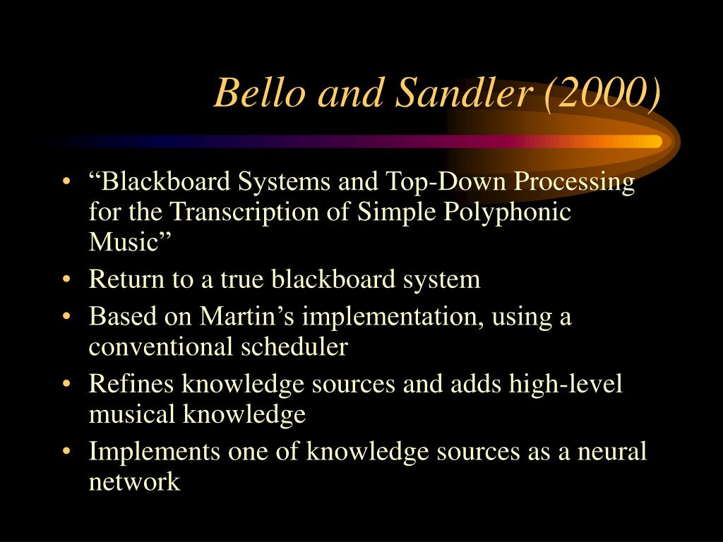 Bello and Sandler (2000)