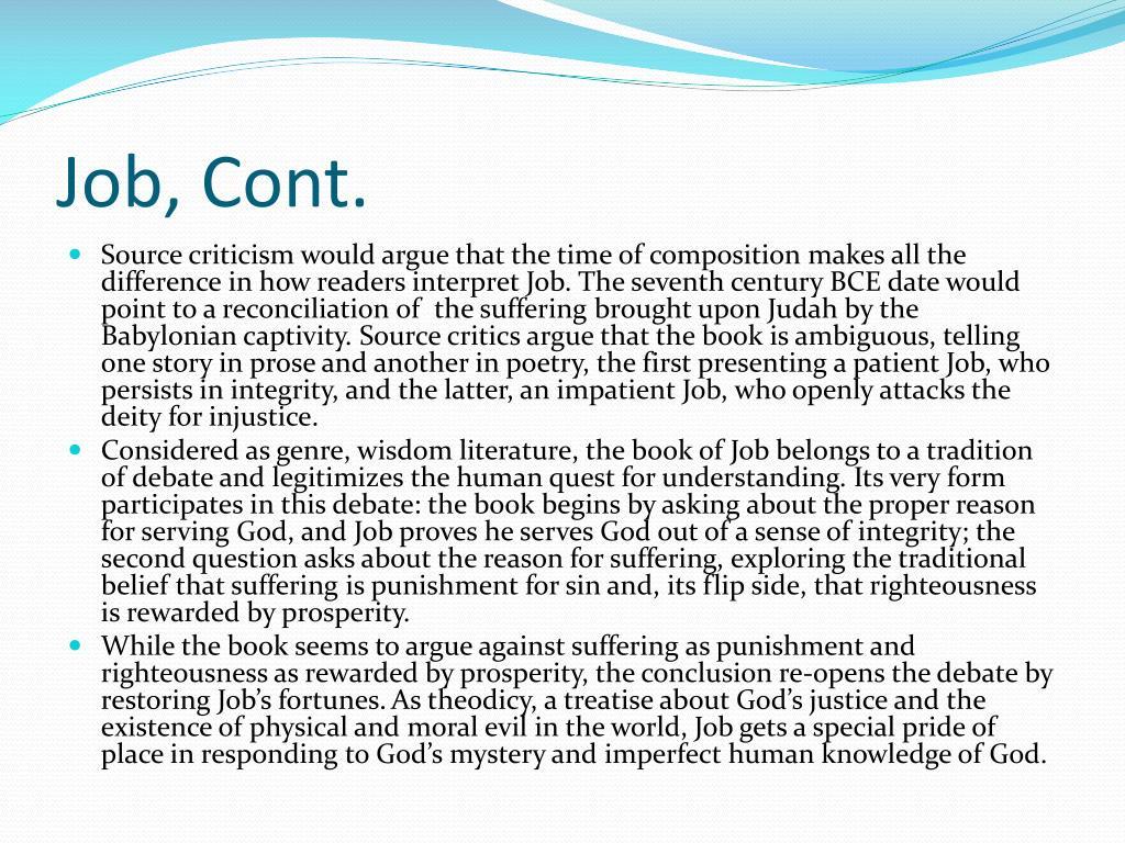 Job, Cont.