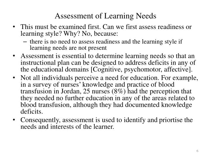 Assessment of