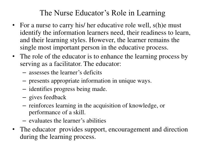 The nurse educator s role in learning