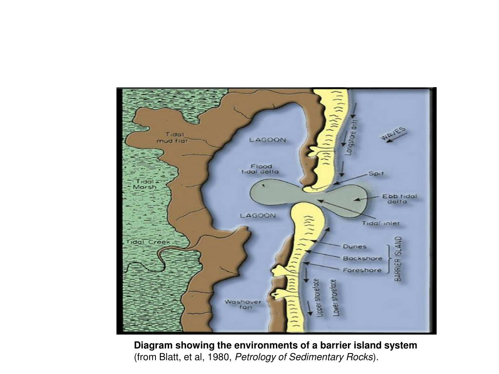 Diagram showing the environments of a barrier island system