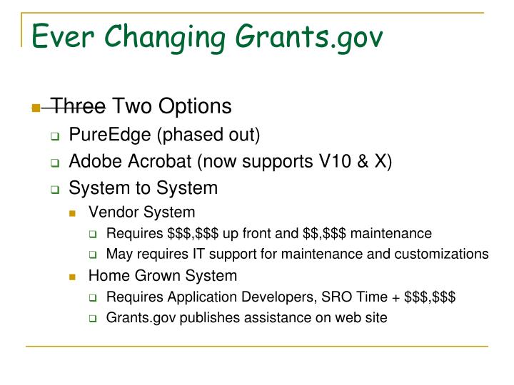 Ever Changing Grants.gov