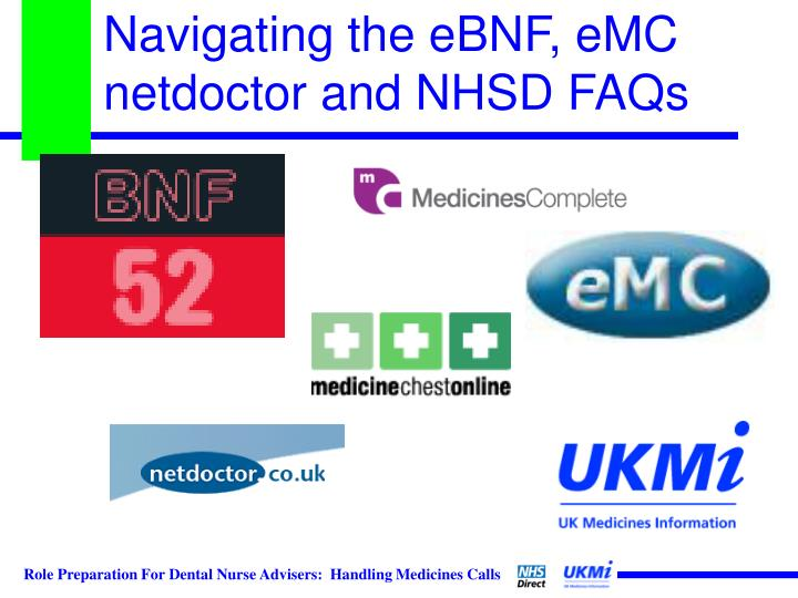 Navigating the eBNF, eMC netdoctor and NHSD FAQs