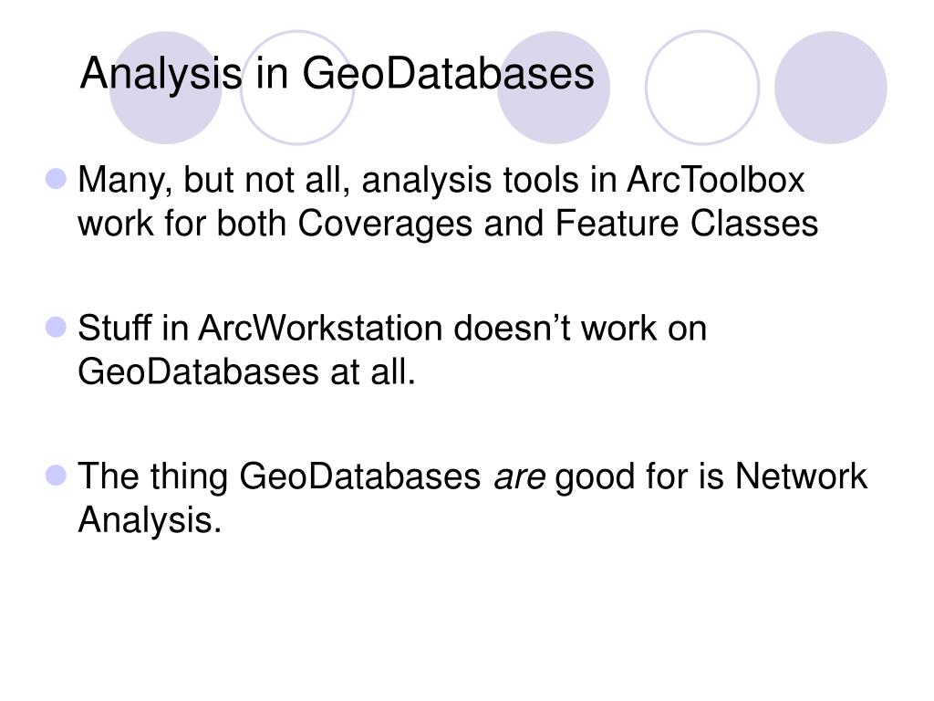 Analysis in GeoDatabases
